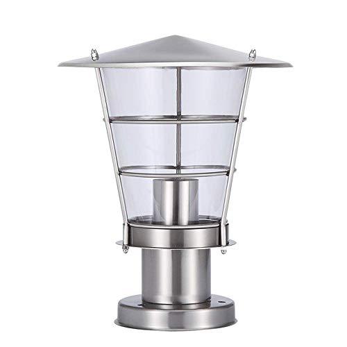 BEANDENG Tradizionale E27 all'aperto in acciaio inox argento Outdoor impermeabile luci moderne semplici lampade a colonna europea Garden Door Street Park casa Villa illuminazione luci pilastro