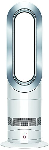 Dyson Air Multiplier AM09 Hot + Cool - Ventilador / calefactor de mesa, tecnología Jet Focus, control remoto de potencia, seguro, color blanco y plata