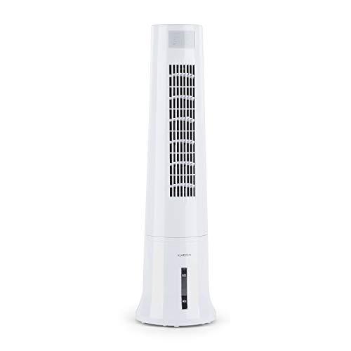 Klarstein Highrise Cold Tower CoolLine - Refroidisseur, Ventilateur, Fonction humidification, Fonction Nettoyage d'air, 3 Modes de Ventilation, 3 Niveaux de Puissance, Blanc