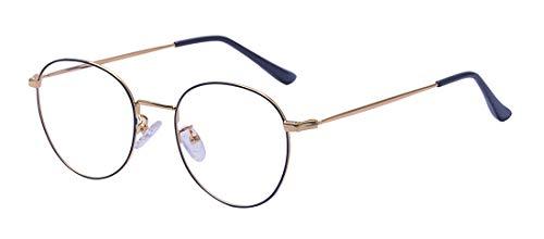 ALWAYSUV Blaulichtfilter Metallrahmen Runde Brille Retro Brille Transparente Brille mit Fensterglas
