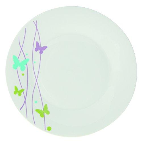 Novastyl 7154084 - Vajilla (18 piezas, porcelana, 28 x 23 x 28 cm), diseño de mariposas, color blanco