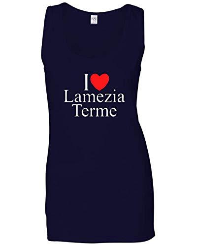 Canottiera Donna Blu Navy TLOVE0080 I Love Heart LAMEZIA Terme