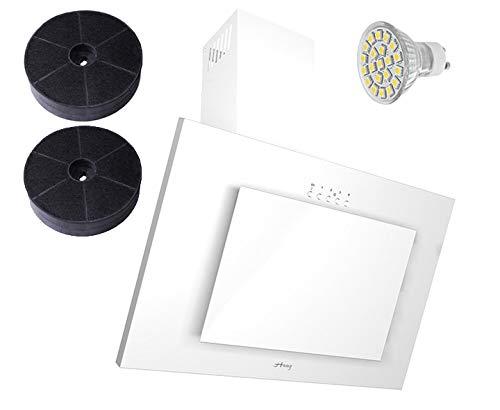 Haag Verticale C Bianco + vetro + LED, Filtro a carbone gratis. 60cm cappa aspirante, testa...