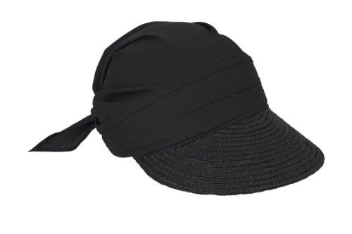 Seeberger Damen Sonnenhut Stroh-/Stoffcap, Einfarbig, Gr. one size , Schwarz (schwarz 10)