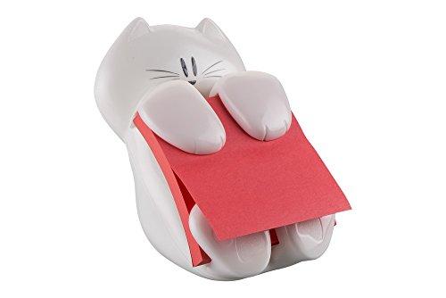 """Post-it \""""Super Sticky Z-Notes Spender\"""" ausgefallene Zettelbox in Katzen-Form - 1x Zettelhalter Katze in Weiß mit Grau inkl. 1 Block \""""Super Sticky Z-Notes\"""" (76 x 76 mm) in Rot"""