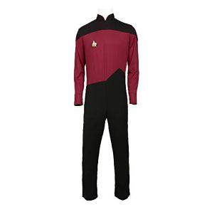 KOUYNHK Star Trek TNG Cosplay Vestuario Chico, Halloween Spandex Body Fancy Dress Navidad Cumpleaños Deportes Medias Elásticas Altas,Red-XXXL