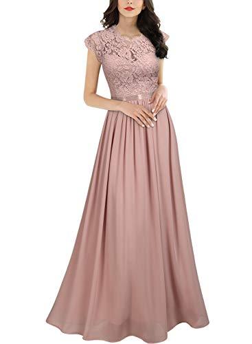 MIUSOL Damen Elegant Ärmellos Rundhals Vintage Spitzenkleid Hochzeit Chiffon Faltenrock Langes Kleid Rosa L