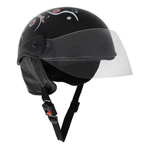 Sage Square Adjustable Junior Helmet for Kids Baby Safety and Comfort (3-12 Years) (Black Glossy Sticker Design 1)