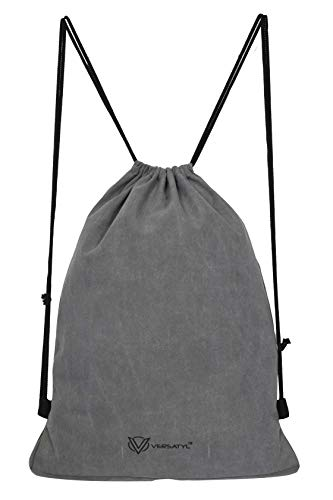VERSATYL-Drawstring Bag Sports Backpack Gym Yoga Water Resistant Denim Sackpack Shoulder Rucksack for Men and Women