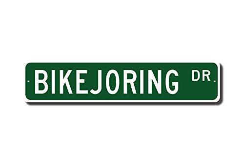 C-US-lmf379581 Bikejoring Bikejoring - Cartel de Metal de Calidad con Texto en ingl茅s Team of Dogs Pull Rider On Bicycle Bikejoring Lover Custom Street