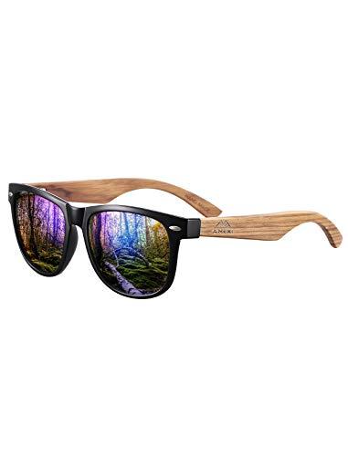 Bambus-Sonnenbrille mit Brillen-Etui, Schraubenzieher und Tasche - polarisiert - UV400 - verschiede Farben u verspiegelte Gläser, mit Bügeln aus Bambus   UV-Schutz