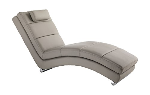Wink Design Chaise Longue Sofia Taupe, Pelle, Beige, 172x85x62 cm