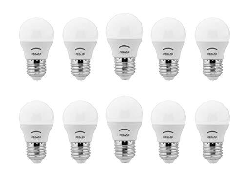 SET di 10 LAMPADINE LED SFERA P45 PEGASO, 7W 525 Lumen, Attacco E27, LUCE FREDDA 6000K°
