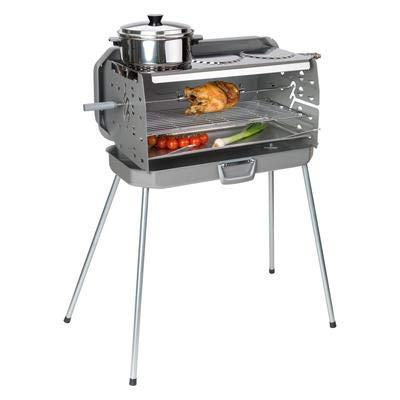 Koffergrill 3-Flammen Gasgrill 50mbar 3 Kochstellen inkl. Grillspieß mit 2 Fleischklammern Edelstahl