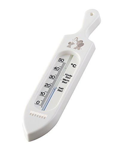 Rotho Babydesign Badethermometer, Ab 0 Monate, Quecksilberfreie Messflüssigkeit, Modern Elephants, Bella Bambina,Weiß, 200570001CK