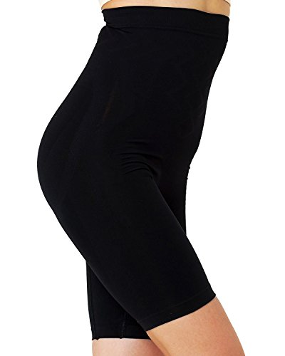 Formeasy Damen Shapewear Miederhose bauch weg stark formend Miederpants mit Bein Taillenformer Shaper angenehme figurformende Wäsche, Schwarz, XXX-Large