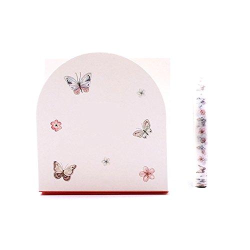 Cosanter coreano papel creativo y cinta de papel Shredded pegatinas decorativas inconsútiles delgadas de color de encaje puede rasgar las flores de encaje estilo mariposa de la flor
