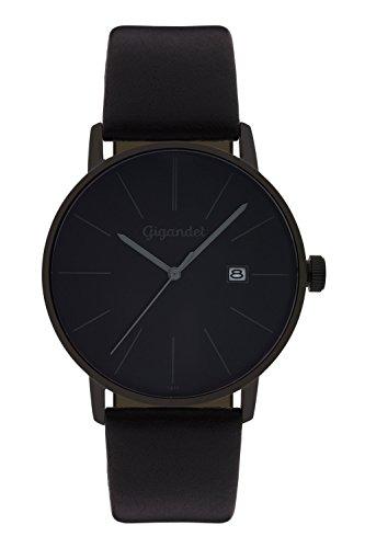 Gigandet Herren-Armbanduhr Quarz Analog Lederarmband schwarz Minimalism G42-004