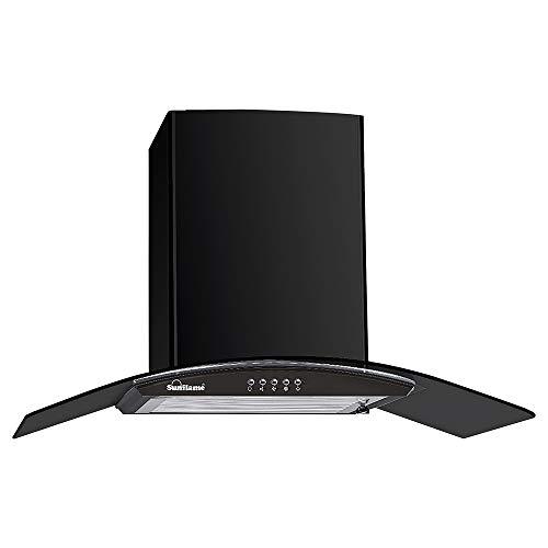 Sunflame 60 cm 1100 m³/hr Curved Glass Kitchen Chimney (BELLA 60 BK, 2 Baffle Filters, Black)