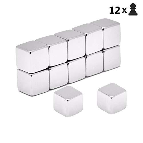 12 pezzi magneti al neodimio per cubi extra forte set,dadi magneti per lavagne magnetiche in vetro...