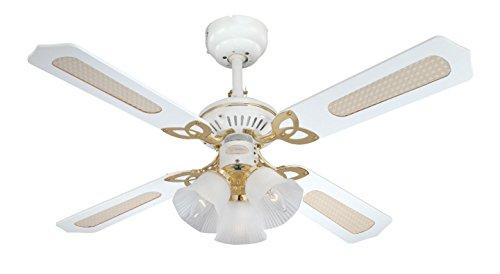 Westinghouse Ventilatore a Soffitto Princess Trio E14, 60 W, Finitura ottono lucidato, Pale,...