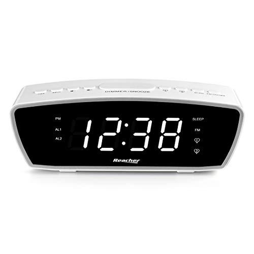 Digitaler Wecker, Reacher FM Radiowecker mit Zwei einstellbaren Weckzeiten, Display abschaltbar dimmbar, Snooze-Funktion, Sleeptimer, USB Port Ladegerät für Smart Phones und Tabletten Aufladen(weiß)