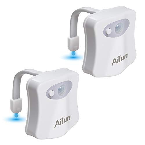 AILUN - Luce notturna a LED per WC, impermeabile, 8 colori, con sensore di movimento, per...