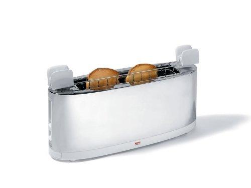 Alessi - SG68 W - Tostapane con griglia scaldabrioche in acciaio inossidabile 18/10 e PC, bianco
