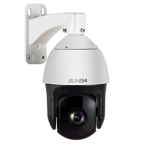 SUNBA 601-D20X IP PoE + Telecamera di Sicurezza all'Aperto PTZ ad Alta Velocità H.265, Zoom Ottico 20x HD 1080P ONVIF con Audio e Visione Notturna fino a 250 m
