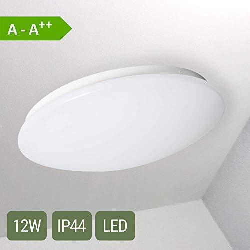 LED Deckenleuchte COMO 12 W | Warmweiß 3000 K | IP 44 Spritzwasserschutz | 980 Lumen Deckenlampe Oktaplex Lighting Badezimmer Küche Balkon Gäste WC Treppenhaus