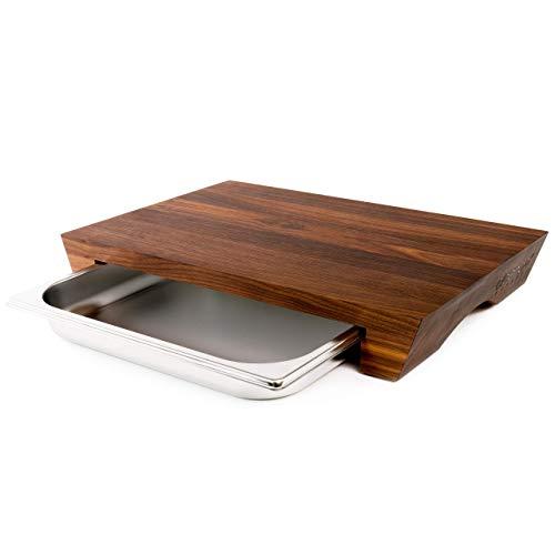cleenbo Schneidebrett Walnuss Style, Profi Holz Küchenbrett aus geöltem Nussbaum, Schneidebretter Nussholz massiv, Holzbrett groß mit Edelstahl Auffangschale Maße: 43 x 29 x 7 cm