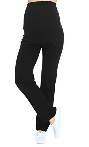 Schwangerschaftshose / Yogahose mit extra Bauch-Panel / Umstandsmode (XL, Schwarz)