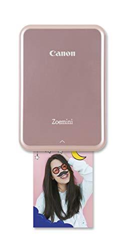 Canon Zoemini Mobiler Mini-Fotodrucker (Akku, 5 x 7,5 cm Fotos, ZINK-Druck tintenfrei, für Handys iOS und Android via Bluetooth, 160 g) rosegold