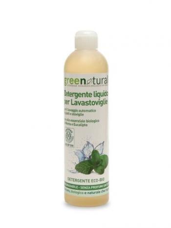 Greenatural Detergente liquido per Lavastoviglie olio essenziale biologico di menta eucalipto 500 ml