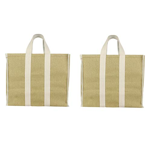 DOUBLE R BAGS Eco Cotton Canvas Milk Grocery Fruits Vegetable Kitchen Essential Carry Bags with Reinforced Handles (Beige, 17x8.5x14-inches) - Pack of 2