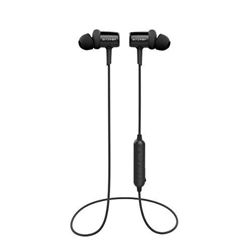 Bluetooth Kopfhörer, BlitzWolf V4.1 In Ear Sport Ohrhörer Kopfhörer magnetische Headset IPX4 AptX Stereo 8 Stunden Spielzeit mit Mikrofon für iPhone, Sumsung und andere Android Smartphones(Schwarz)