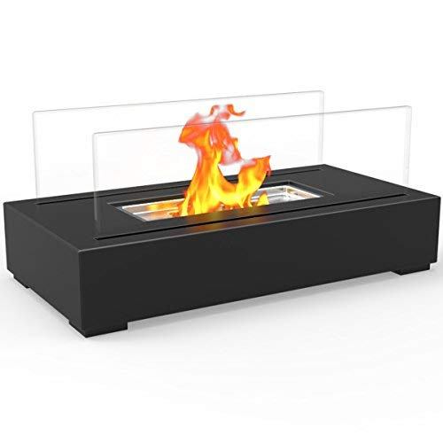 Regal Flame Utopia Ventless Indoor Outdoor Fire Pit Tabletop Portable Fire Bowl Pot Bio Ethanol Fireplace in Black - Realistic Clean Burning Like Gel Fireplaces, or Propane Firepits