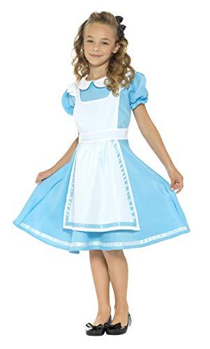 Smiffy's Smiffys-45962S Disfraz País de Las Maravillas, con Vestido, Delantal Cosido y Diadema Color Azul S - Edad 4-6 años 45962S