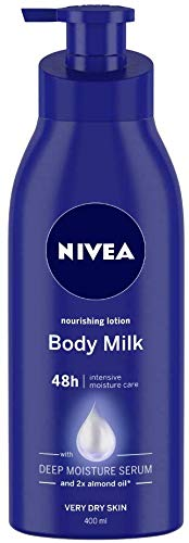 Nivea Nourishing Lotion Body Milk with Deep Moisture Serum and 2x Almond Oil for Very Dry Skin (400 Ml)