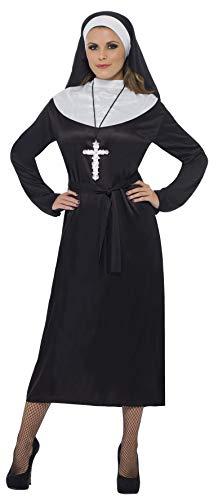 Smiffy's Smiffys-20423L Disfraz de Monja, con Vestido y Velo, Color Negro, L - EU Tamaño 44-46 20423L