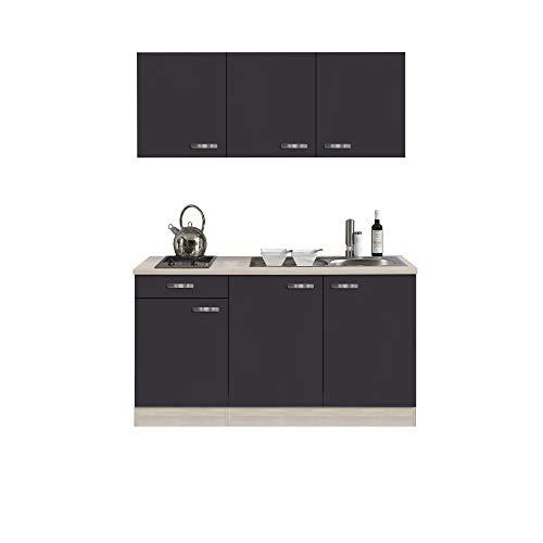 Singleküche BARCELONA | Miniküche mit Glaskeramik-Kochfeld und Spüle | Breite 150 cm | Grau/Akazie mit Echtholzstruktur