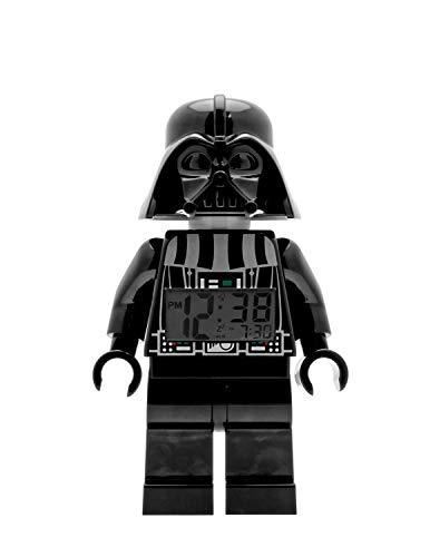 LEGO Star Wars 9002113 Darth Vader Kinder-Wecker mit Minifigur und Hintergrundbeleuchtung , schwarz/grau , Kunststoff , 24 cm hoch , LCD-Display , Junge/ Mädchen , offiziell