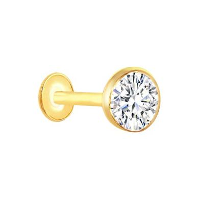Vandana Jewellery Girl's Metal 18 Carat Pure Gold Nose-Pins Studs,Diamond Nose Pins Stud (Yellow) 16