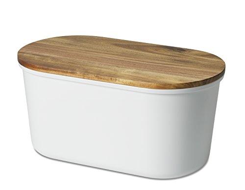Echtwerk Brotbox 'Fresh' Brotkasten, Akazienholz/Melamin, weiß, 37 x 17 x 22 cm