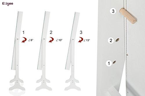 Ezigoo Spiegel Schmuckschrank Beleuchtet mit Touchscreen LED Licht - Schmuckregal mit Ganzkörperspiegel - 5