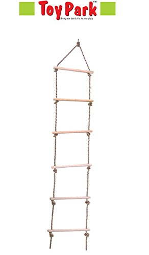 Toy Park Wooden Climber Rope Ladder Tree Swing Toy for Kids 6 Rungs