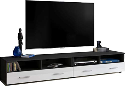 ExtremeFurniture T31-200 TV Mobile, Carcassa in Nero Opaco/Frontali in Bianco Lucido