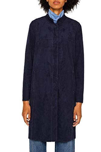 ESPRIT Damen 089Ee1G024 Mantel, Blau (Navy 400), Large (Herstellergröße: L)