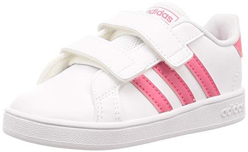 adidas Grand Court I, Pantofole Unisex-Bimbi, Bianco Rosrea/Ftwbla 000, 25 EU