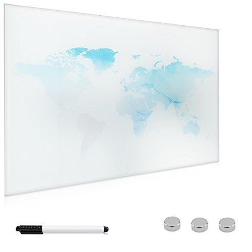 Navaris Lavagna magnetica bianca di vetro - Lavagnetta scrivibile memoboard 60x40 cm con mappamondo...